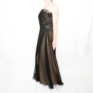 Tadashi Shoji Black Strapless Silk Long Gown Dress